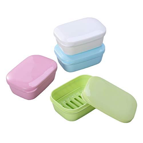 HEALIFTY Lot de 4 égouttoirs à savon en plastique pour salle de bain, douche, maison, voyage (couleur aléatoire)