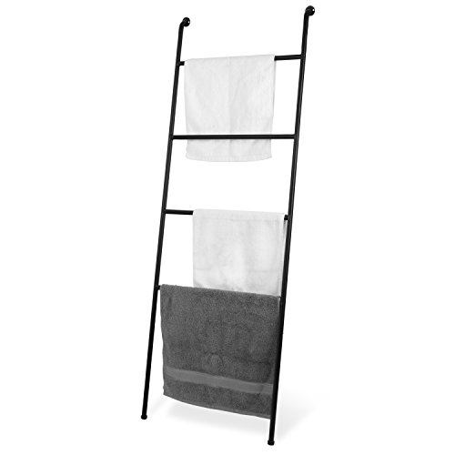 MyGift 4-Foot Wall-Leaning Black Metal Ladder Display Towel Drying Rack/Quilt and Blanket Holder