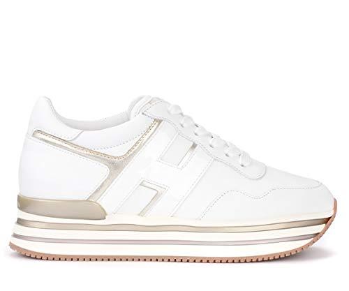 Hogan Sneaker H438 In Leder Weiss Und Platin