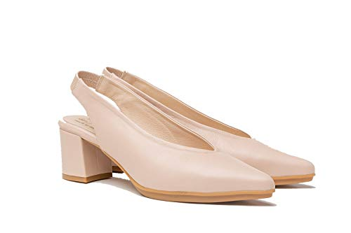 Salon Mujer de Piel Fabricados en España. Disponible Desde la Talla 36 hasta la Talla 41 - Finita Shoes Modelo AW1496 Color Rojo y Nude.