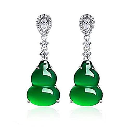 SALAN Pendiente De Diamante Esmeralda De Joyería De Color Plateado 925 para Mujer, Piedra Preciosa De Jade Verde Bizuteria, Pendiente De Esmeralda De Granate De Joyería 925