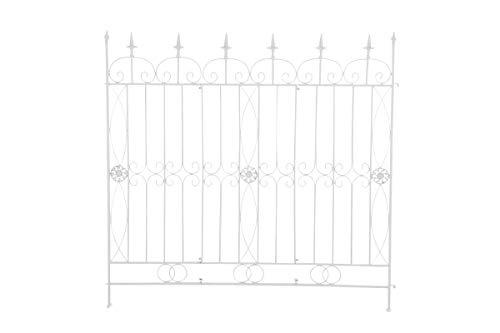 CLP Eisen-Gartenzaun Mangold I Individuell erweiterbarer Rankzaun I Rankgitter im Landhausstil I erhältlich, Farbe:weiß