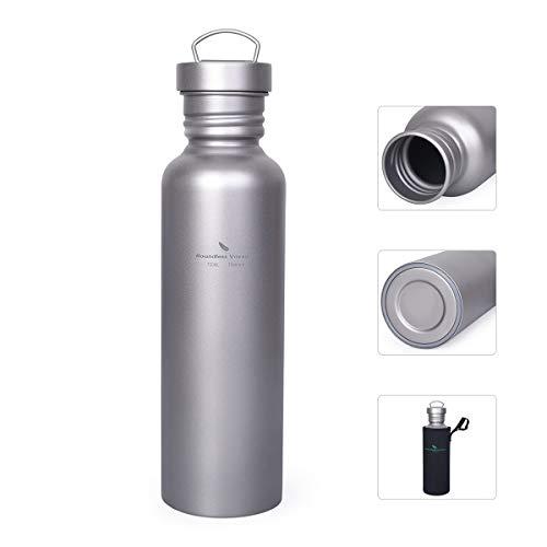 iBasingo Titanflasche Camping Tragbare Wasserflasche Outdoor Großmund Kantine Sport Trinkflasche mit auslaufsicherem Deckel Water Bottle zum Wandern Klettern Laufen Täglich verwendet 750ml Ti1507I