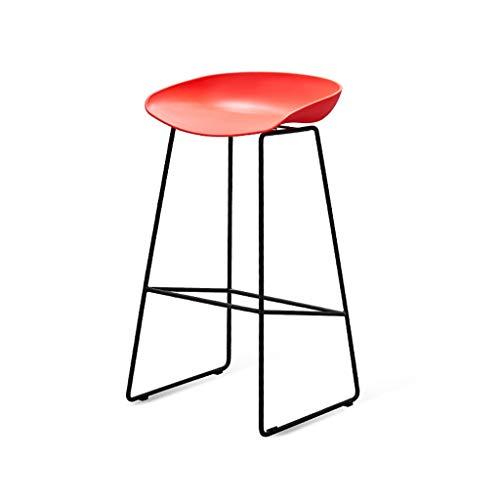Barhocker Hoher Stuhl Eisen Barhocker, Nordic Minimalist Breakfast Hocker Home Esszimmerstuhl Kunststoffstuhl Hocker Schwarz, für Küche, Restaurant, Café, Bar (Größe: 48 * 47 * 83cm) Restaurant Bar Ca