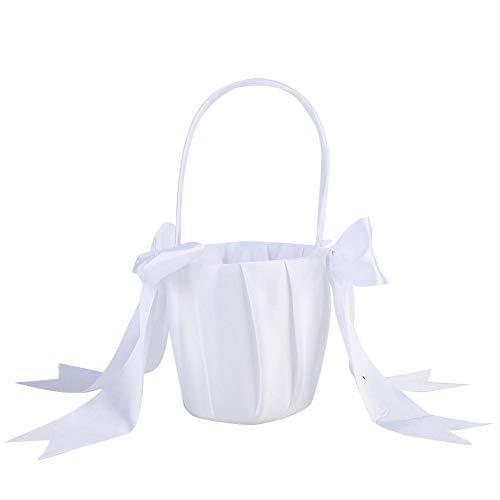 Cesta de menina de flores, Cesta de maquiagem de terileno Cesta de maquiagem, fita de material com nó de arco, pérola falsa(white)