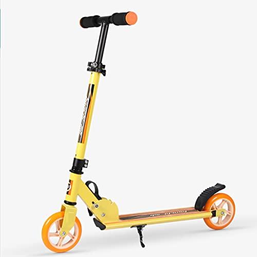 LUQ 2 Scooters de Las Ruedas for niños de 5 años de Edad y un Mecanismo de absorción de Choque Plegable Ajustable for Adultos y Adolescentes Patinete Scooter (Color : Yellow)