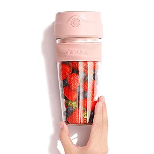 Mini Juicer Portátil Copa USB Carga Larga Batería Life Smoothies Milkbastekes Mitsped Ice Fácil de Limpiar Docinamiento para el hogar Regalos de Viaje al Aire Libre 300ml,Pink,Mini Portable juicer