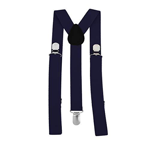 Funnyrunstore Unisex Mujer Hombre Forma Y Tirantes con clip elásticos Correa Pantalones Tirantes Tirantes ajustables Adulto 3 Clip Tirante Correa Cinturón Azul marino