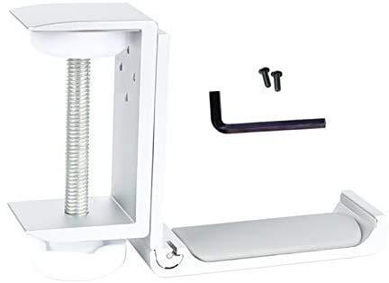 azorex Soporte Auriculares Cascos Plegable Mesa Ajustable de Aluminio y Silicona Universal Debajo del Escritorio de Metal para Gaming Dormitorios Baños Armarios (Blanco)