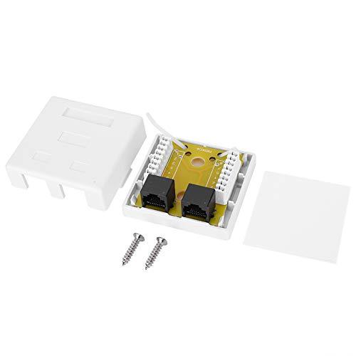 Caja de redes, RJ45-8P8C Conector de redes de doble puerto Cat 6 Caja de conexiones de información de escritorio montada en superficie ABS para cable 22-24AWG