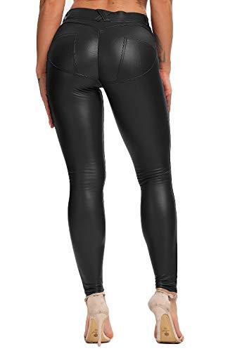 FITTOO PU Leggings Cuero Imitación Pantalón Elásticos Cintura Alta Push Up para Mujer #1 Bolsillo Falso Poca Terciopelo Negro M