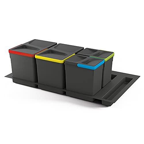 Emuca - Cubos de basura para cajón, cubos de reciclaje con base recortable, juego de contenedores alto 266mm con base 90cm