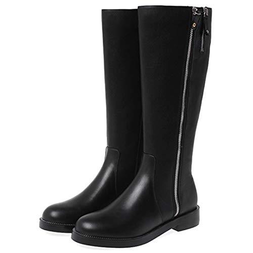 Shinelyf Personalidad Mujer Botas Largo Boots Elegante Buena Elasticidad Comodas Rigida Y Ligera con Cremallera Ligero Y Resistente hasta La Rodilla,Black Plus Velvet,36