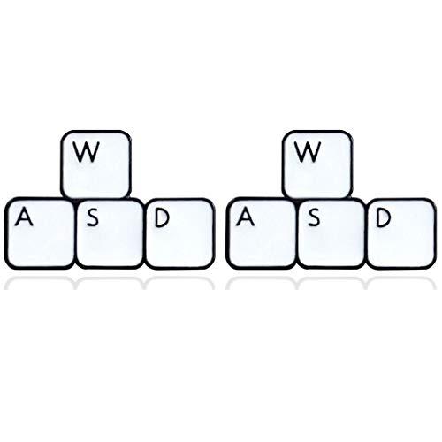 CoSunny Game WASD Tastatur Anstecknadeln 2 Stück Set Schlüssel Tabletten Button Emaille Brosche Pin Computer Gamer Badge Geschenk