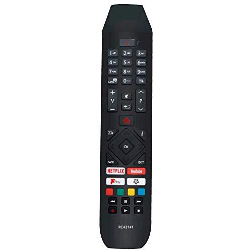 VINABTY RC43141 Ersatz für Fernbedienung für Hitachi Smart TV mit Netflix YouTube & Fplay-Tasten 32HB26J61U 32HB26T61UA 50HB26T72U 524HB21T65U 24HB21T65U 32HB26T61U 43HK25T74U 50HK25T74U 24HB21J65U
