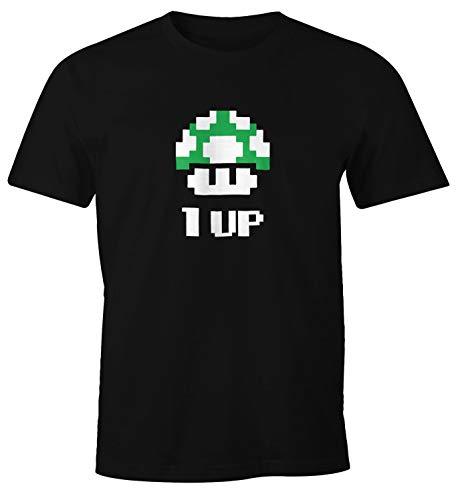 MoonWorks MoonWorks Herren T-Shirt Geburtstag Retro Pixel-Pilz 1-Up-Pilz Level-Up Gaming Konsole 90er Fun-Shirt schwarz XS