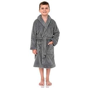 TowelSelections Boys Robe, Kids Plush Shawl Fleece Bathrobe