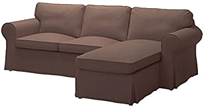 Sofa Cover Only! Dense Cotton Ektorp Loveseat with Chaise Lounge Sectional Cover Replacement for IKEA Ektorp Two Seat Chaise (Four Seat) Sofa Slipcover