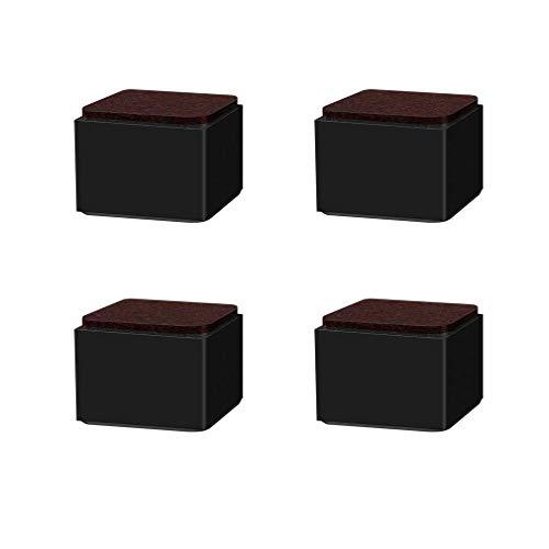 DX meubelpoten van koolstofstaal, tafelpoten van metaal, beschermmat voor de vierkante hal, zwart, voor bed, bijzettafel, tv-kast, commode,