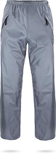 normani Unisex Regenhose 6000 mm wasserdicht, Winddicht und atmungsaktiv mit Reißverschlusstaschen für Damen und Herren Farbe Grau Größe 5XL
