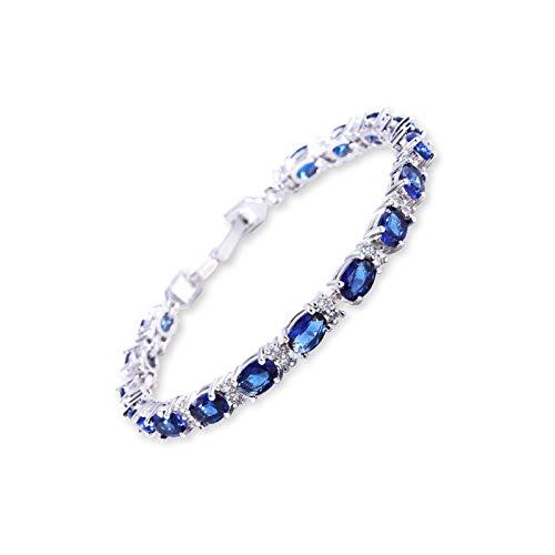 litulituhallo Color romano del tenis del brazalete cristalino azul de la circona cúbica galvanizada del oro