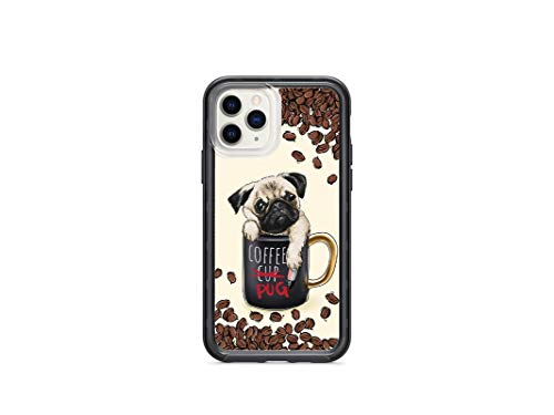 Kaidan Coffee Pug iPhone XR X XS Case Cute Dog Apple 11 Pro Max Puppy in a Cup 8 7 6 Plus 5 5S SE Samsung Galaxy S9 S8 Plus Cover Mug Note 8 9 Coffee Beans S10e S10 + Lite Google Pixel 3 2 XL am296