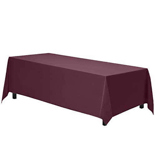 Gee Di Moda Rectangle Tablecloth - 70 x 120 Inch - Burgundy Rectangular Table Cloth in Washable Polyester - Great for Buffet Table, Parties, Holiday Dinner, Wedding & More