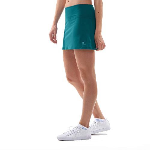 Sportkind Mädchen & Damen Tennis, Hockey, Golf Basic Skort, Rock mit Innenhose, atmungsaktiv, UV-Schutz, Petrol grün, Gr. 158