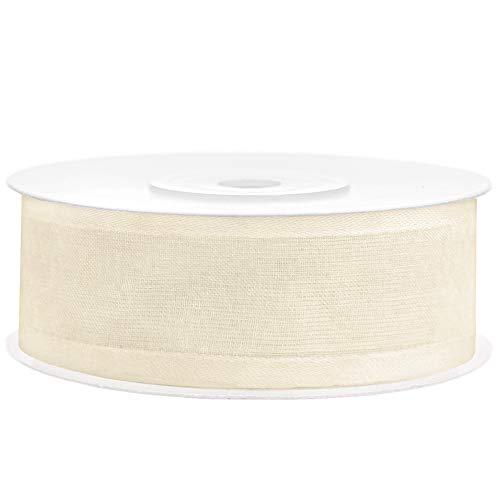 Chiffonband in Crème mit Satinbesatz 25 mm/25 m Schleifenband Dekoband Stoffband