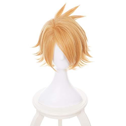 Peluca de Boku No Hero Academia Kaminari Denki, disfraz de Cosplay, disfraz de My Hero Academia para hombres y mujeres, pelucas cortas de pelo sintético para fiestas, juego de roles, Francia