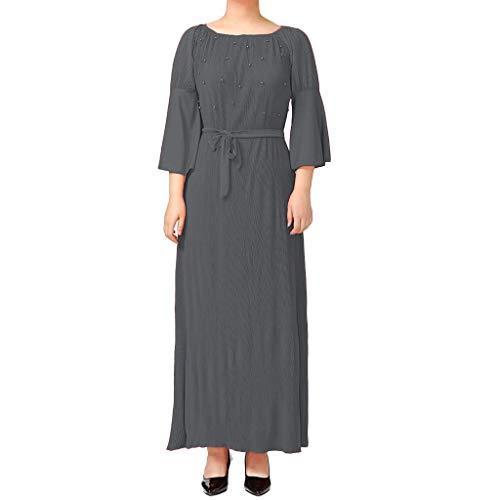 CixNy Muslimische Vintage Langarm Kleid Frauen Kleider Drucken Perle Dekoration Tunika Abaya Dubai Damen Casual Abendkleid Hochzeit Kaftan Robe Muslim Lang Maxikleid Islamische Kleidung