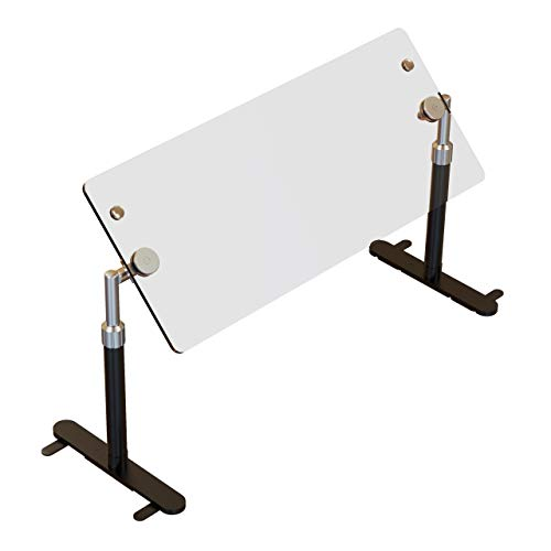 ADM Sneezeguard | B-950P | Portable Sneeze Guard | Freestanding Adjustable Sneeze Shield | Convertible Buffet Food Guard | Includes Posts and Tempered Glass Panel | Two Tone | (30')