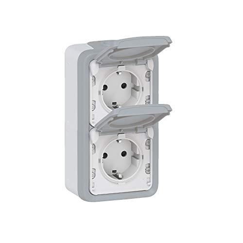 Base de corriente, doble toma monobloque, serie Plexo II, color gris (Legrand 069704)