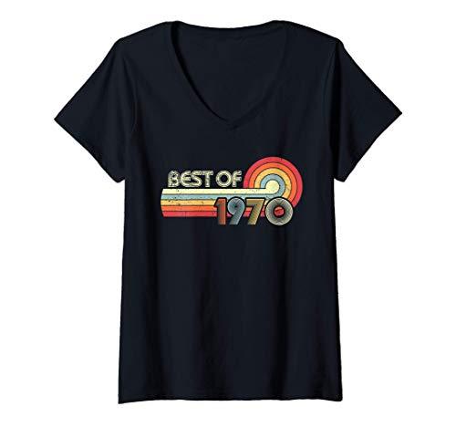 Donna Best of 1970 Regalo Vintage 50 Anni 50 Compleanno Donna Uomo Maglietta con Collo a V