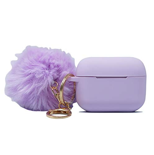 USSJ Premium Silicone Case Cover with Fur Ball Keychain Compatible with AirPods Pro Case 2019 Release,[Front LED Visible],Super for AirPods Pro (Lavender)
