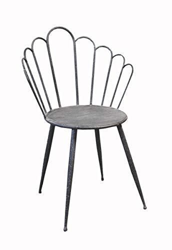 Keyhome Stuhl Eisen Innenraum Shabby Chic Küchenstuhl, Sala Pranzo, Balcone oder Terrasse, Design Bar Restaurant - Höhe 88 cm