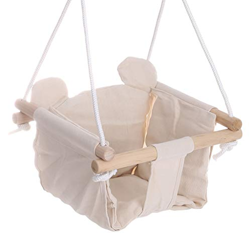 Lataw Secure Canvas Hanging Swing Seat with Seat Cushion for Toddler Baby Swings for Infants Wood Frame Canvas Swing Seat Indoor Outdoor 15.7in×15.7in×47.2in