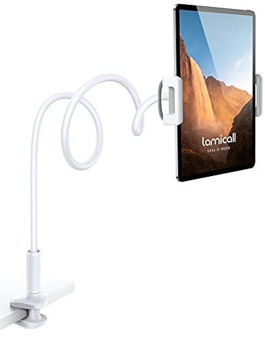 """Gooseneck Tablet Mount Holder for Bed - Lamicall Flexible Tablet Arm Clamp for Bed Compatible with Pad Mini 7.9, Air 9.7, Pro 10.5, Switch, Galaxy Tabs, More 4.7-11"""" Device - White"""
