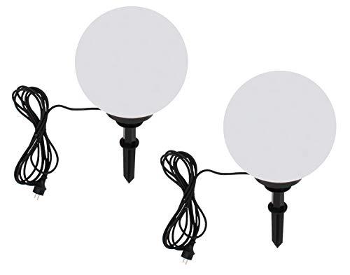 Trango 2er Set 400 Gartenkugel Leuchte IP44 Kugelleuchte 40cm Durchmesser in Weiß *GARDEN* mit je 5m Zuleitungskabel & je E27 Fassung geeignet für LED Lampe Kugellampe Gartenleuchte Außenlampe