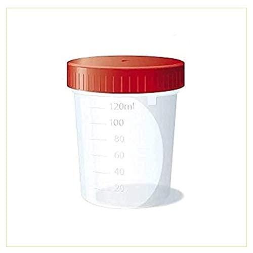 Virsus 10 envases de orina para análisis de 120 ml de capacidad para orina con tapón hermético para laboratorio con etiqueta de nombre