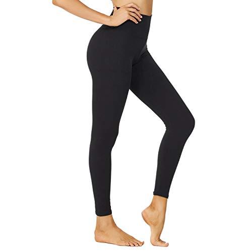 NexiEpoch Leggings para mujer – Cintura alta suave Control de barriga pantalones elásticos para yoga entrenamiento, entrenamiento - Negro - S - M