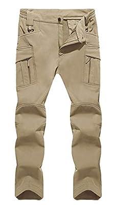 TACVASEN Men's Ski Water Repellent Softshell Fleece Lined Hiking Pants Tactical Trousers Khaki,34
