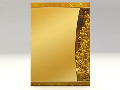 Weihnachts-Papier Set Leuchtender Tannenbaum, 100 Blatt Motivpapier A4 und 100 Umschläge OHNE FENSTER
