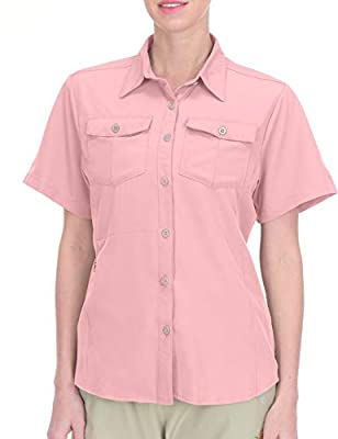 Little Donkey Andy Women's Stretch Quick Dry UPF50+ Short Sleeve Shirt for Hiking, Travel, Camping Pink Size M