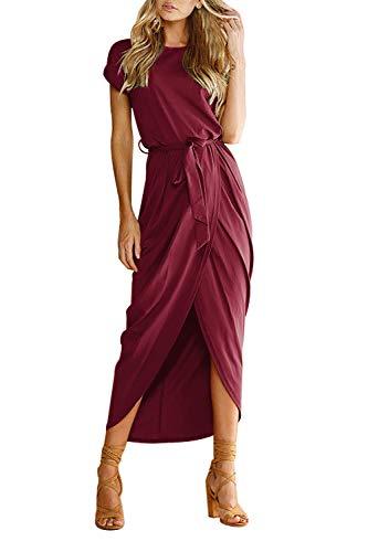 Yidarton Women's Casual Short Sleeve Slit Solid Party Summer Long Maxi Dress (Medium, Red)