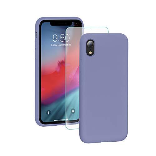 SmartDevil Funda para iPhone XR + Vidrio Templado, [Totalmente Protector] Funda de Goma de Gel de Silicona.Líquida a Prueba de Golpes Funda de Microfibra Suave Forro Cojín para iPhone XR-Púrpura