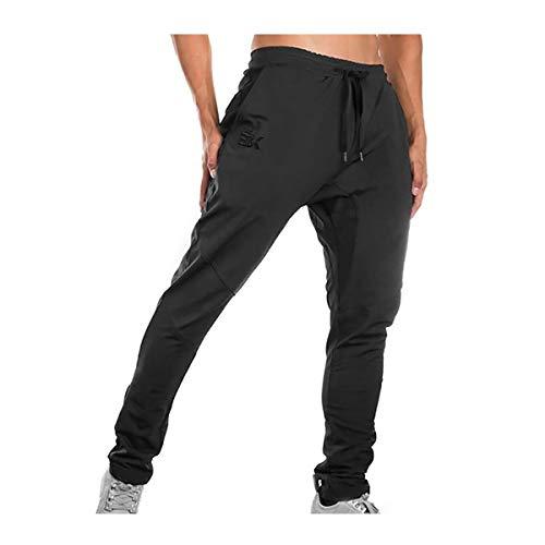 Brokig - Pantalones de deporte para hombre, corte ajustado, con bolsillos dobles Negro Negro ( 34-37