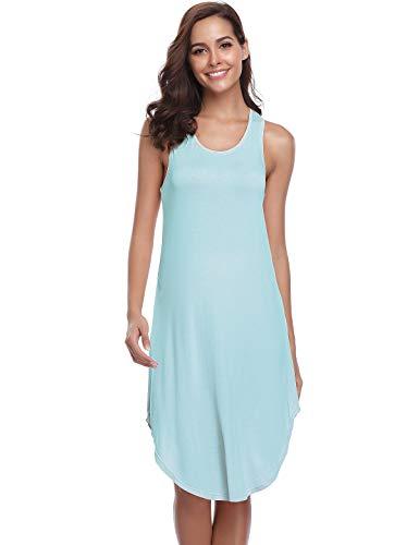 Abollria Camisón sin Mangas para Mujer Algodon Vestido Verano Playa Casuales Camisón
