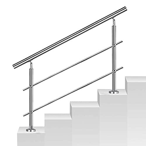 QDY-Handrails Barandilla Pasamanos Barandilla de Escalera con 2 Barras transversales, pasamanos de Acero Inoxidable para escalones, ángulo Ajustable, Plateado, 85 cm (2,8 pies) de Altura