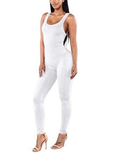 Alaroo Women Bodysuit Sexy Plus Size Jumpsuits Sport Spandex Costume Playsuit White XXL